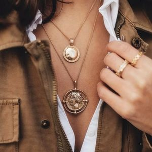 Bohemian Carved Roman Coin Necklace